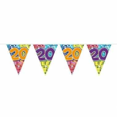 1x mini vlaggenlijn / slinger verjaardag versiering 20 jaar