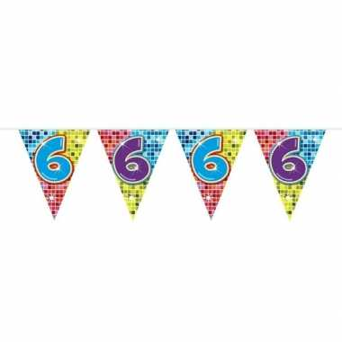 1x mini vlaggenlijn / slinger verjaardag versiering 6 jaar
