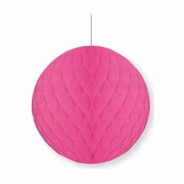 1x papieren kerstballen fuchsia roze 10 cm kerstversiering