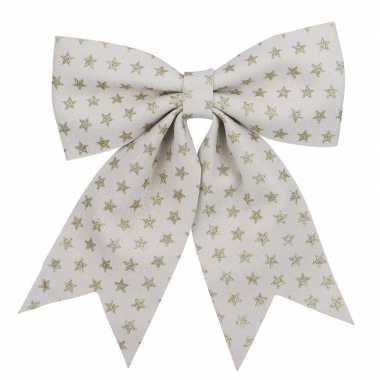 1x versiering strikken/kerststrikken wit met gouden sterren 28 x 34 cm