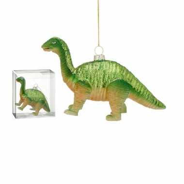 1x versieringhangers figuurtjes glazen dinosaurus groen 16 cm