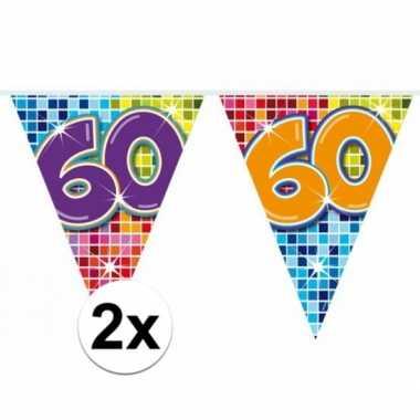 2 mini vlaggenlijn / slinger verjaardag versiering 60 jaar
