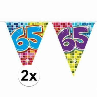 2 mini vlaggenlijn / slinger verjaardag versiering 65 jaar