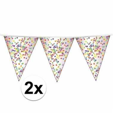 2 x confetti versiering vlaggenlijn 10 meter