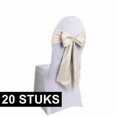20x bruiloft stoel versiering creme strikken
