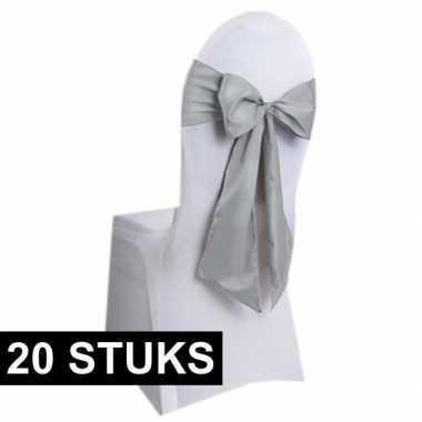 20x bruiloft stoel versiering zilveren strikken