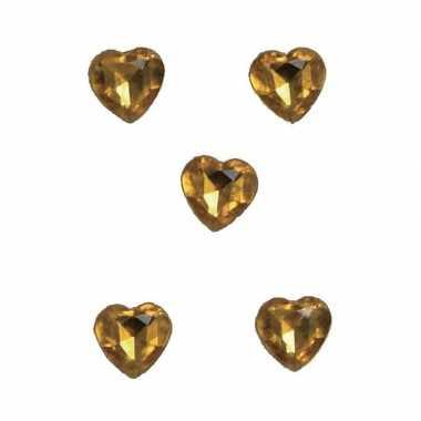 20x gouden versiering hartjes diamanten