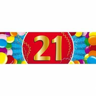 21 jaar leeftijd sticker 19 x 6 cm verjaardag versiering