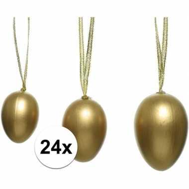 24x pasen versiering paaseieren goud 4 5 6 cm