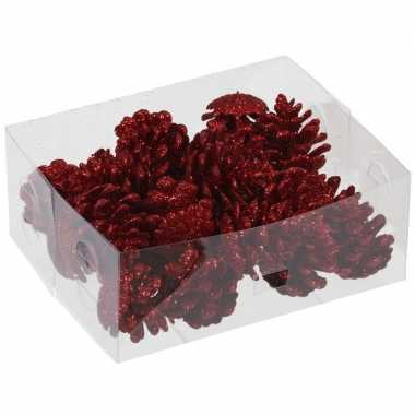 24x rode glitter versiering dennenappels 4,5 cm