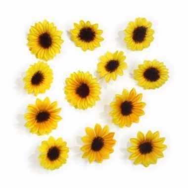 24x stuks kleine versiering zonnebloemetjes