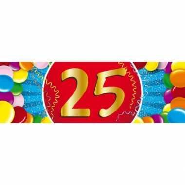 25 jaar leeftijd sticker 19 x 6 cm verjaardag versiering