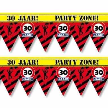 2x 30 jaar party tape/markeerlinten waarschuwing 12 m versiering