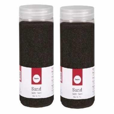 2x 475 ml versiering materiaal zwart zand