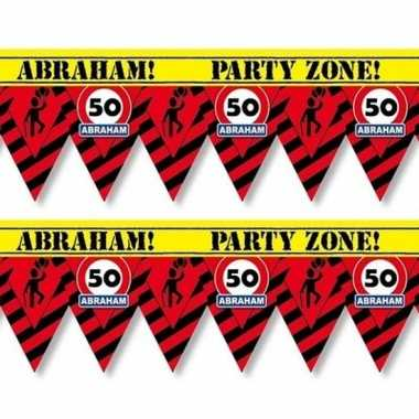 2x 50 abraham tape/markeerlinten waarschuwing 12 m versiering