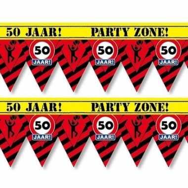 2x 50 jaar party tape/markeerlinten waarschuwing 12 m versiering