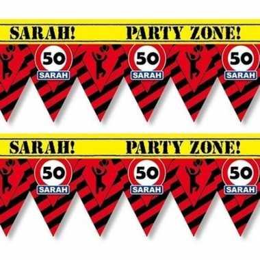 2x 50 sarah tape/markeerlinten waarschuwing 12 m versiering