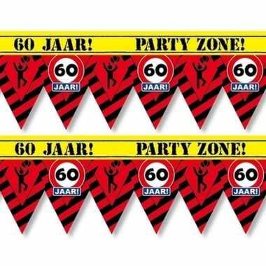 2x 60 jaar party tape/markeerlinten waarschuwing 12 m versiering