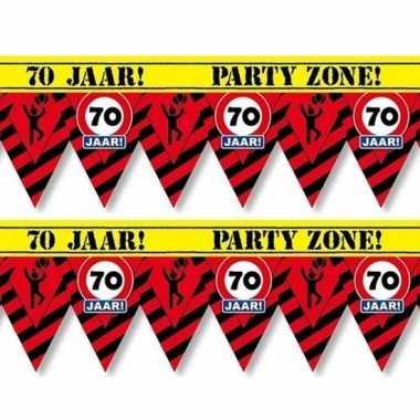 2x 70 jaar party tape/markeerlinten waarschuwing 12 m versiering