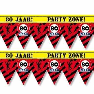 2x 80 jaar party tape/markeerlinten waarschuwing 12 m versiering