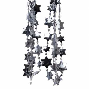 2x antraciet kerstversiering ster kralenslinger 270 cm