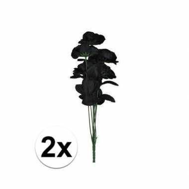 2x bosje met 12 zwarte rozen halloween versiering 38 cm