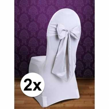 2x bruiloft stoel versiering witte strik