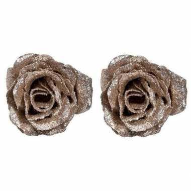 2x champagne roos met glitters op clip 7 cm kerstversiering
