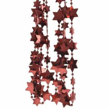2x donker rode kerstversiering ster kralenslinger 270 cm