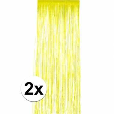2x geel versiering deurgordijn