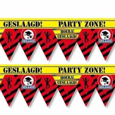 2x geslaagd party tape/markeerlint waarschuwing 12 m versiering