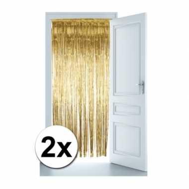 2x goud versiering deurgordijn