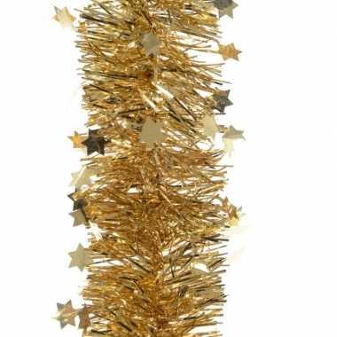 2x gouden kerstversiering folie slinger met ster 270 cm