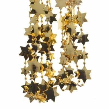 2x gouden kerstversiering ster kralenslinger 270 cm