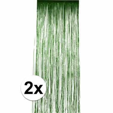 2x groen versiering deurgordijn