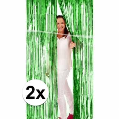 2x groene versiering folie deurgordijn