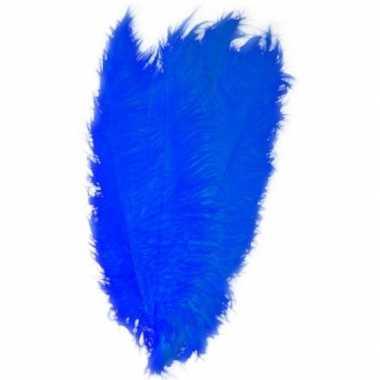 2x grote versiering veren/struisvogelveren blauw 50 cm