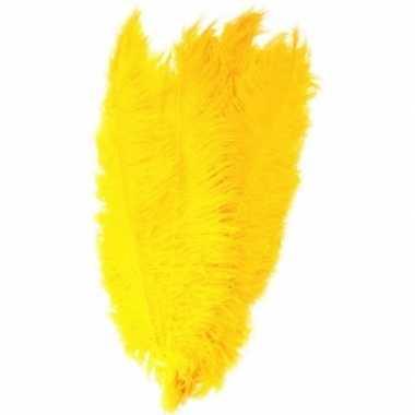 2x grote versiering veren/struisvogelveren geel 50 cm