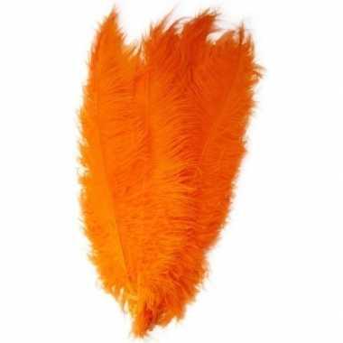 2x grote versiering veren/struisvogelveren oranje 50 cm
