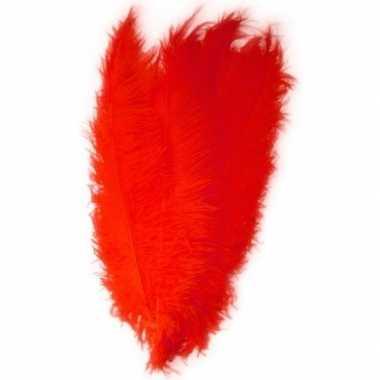 2x grote versiering veren/struisvogelveren rood 50 cm