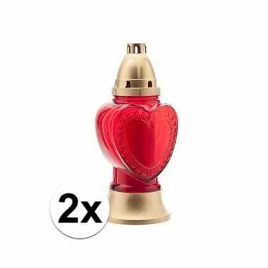 2x halloween versiering grafkaars hart