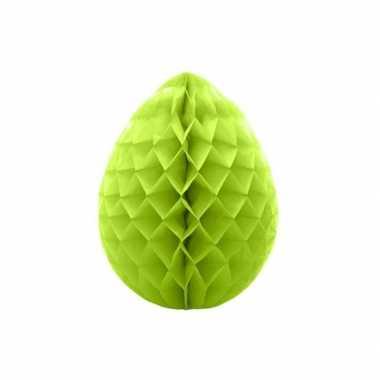2x hangversiering paaseieren van crepepapier groen 10 cm