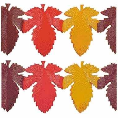 2x herfstbladen versiering slinger