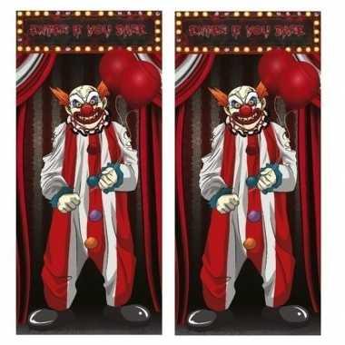 2x horror clown deurposters 75 x 150 cm halloween versiering