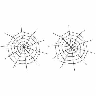 2x horror versiering spinnenweb groot 150 cm