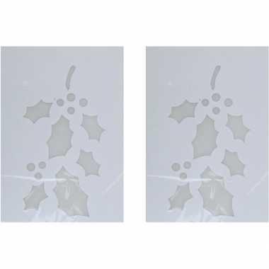 2x kerst raamsjablonen/raamversiering hulsttakken plaatjes 35 cm