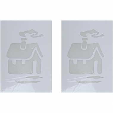 2x kerst raamsjablonen/raamversiering kerst huis plaatjes 35 cm