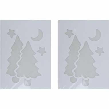 2x kerst raamsjablonen/raamversiering kerstboom plaatjes 35 cm