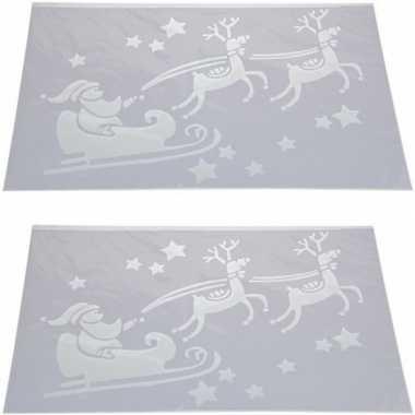 2x kerst raamsjablonen/raamversiering kerstman in slee 54 cm