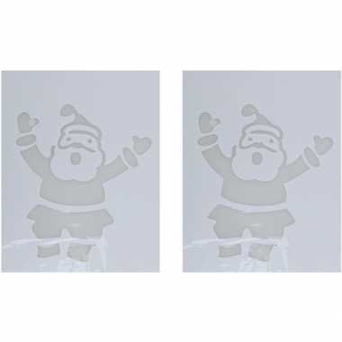 2x kerst raamsjablonen/raamversiering kerstman plaatjes 35 cm